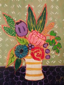 folk art or cottage chic painting of flowers with purple tulip